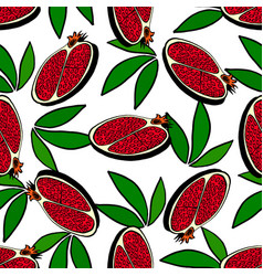 Red fruit pomegranate whole and half pomegranate vector