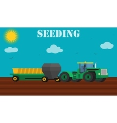 Seed planting process using a tractor and seeders vector