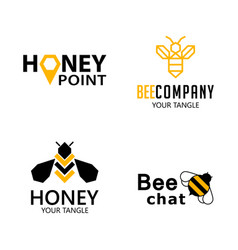 set bee labels for honey logo products vector image