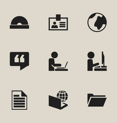 set of 9 editable bureau icons includes symbols vector image