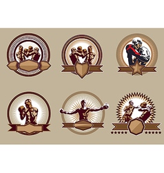 Set of combative sport icons or emblems vector