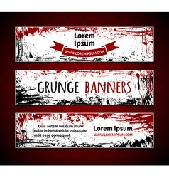 Set of grunge ink horizontal banners vector