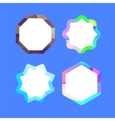 Set of lowpoly badges for attention vector image