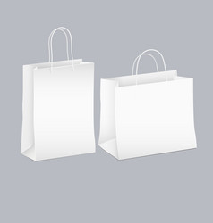 set of two white empty shopping paper bag vector image