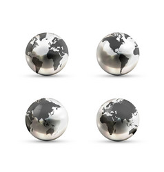 Set realistic metallic earth globes icons from vector