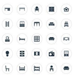 Set simple furniture icons vector