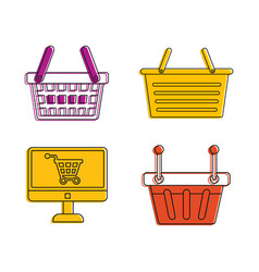 shop basket icon set color outline style vector image