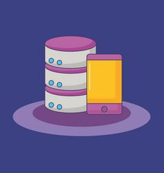 smartphone big data server storage innovation vector image