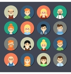 Smiling cartoon people icons set vector image