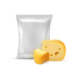 Stack of potato chips with cheese and bag vector