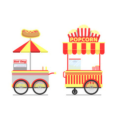 street food carts with tasty popcorn and hot dogs vector image
