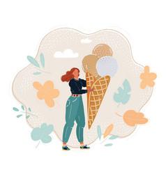 summer girl eating big ice vector image