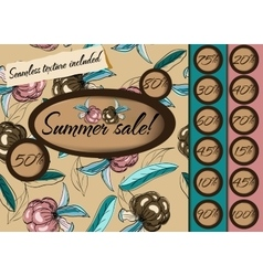 Summer sale poster with seamless texture vector image