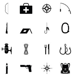 Survival kit icon set vector