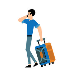 Tourist male character with suitcase walking and vector