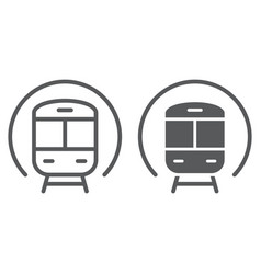 train line and glyph icon railway and travel vector image