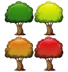 Tree with color leaves in four seasons vector image