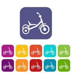Tricycle icons set vector
