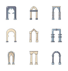 Vaulting icons set flat style vector