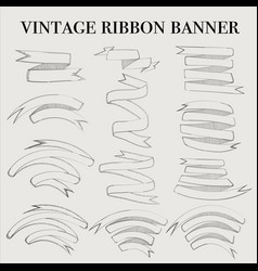 vintage ribbon outline banner elements set vector image