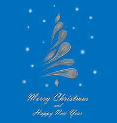 white elegant christmas tree on blue background vector image