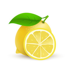whole single lemon fruit - realistic icon vector image