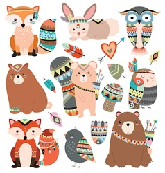 Woodland tribal animals and forest design elements vector