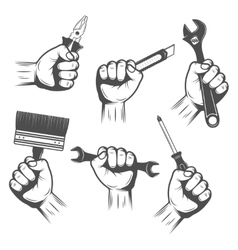 Work Tools In Hands Set vector