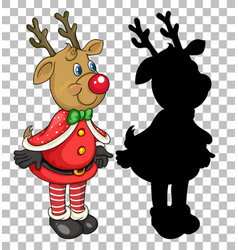 xmas deer cartoon character vector image
