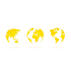yellow geometric globes set world planet earth vector image