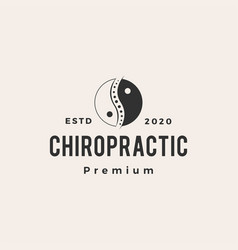 yin yang chiropractic hipster vintage logo icon vector image