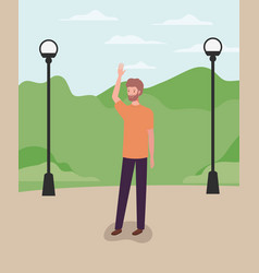 Young and casual man with beard in park vector