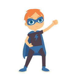 young boy wearing superhero costume at the vector image