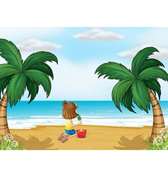 A little girl playing at the beach alone vector image vector image
