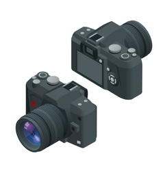 Digital photo camera SLR camera Flat 3d vector image vector image