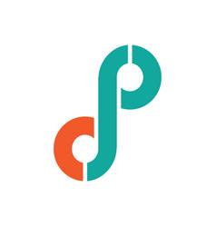 letter d p logo vector image