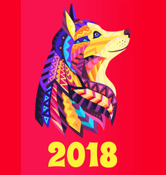 new year poster 2018 with dog symbol brochure vector image vector image
