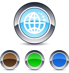 planet round button vector image vector image