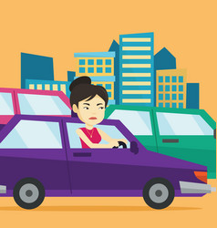 angry asian woman in car stuck in traffic jam vector image
