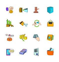 bank icons set cartoon vector image