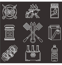 Barbecue white line icons vector image vector image