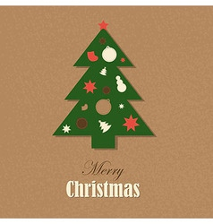Christmas Vintage Card With Christmas Tree vector image