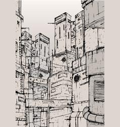 cyberpunk city fantastic buildings constructions vector image vector image