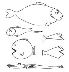 Humorous drawing fish set vector image vector image