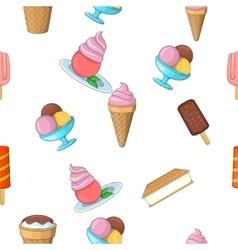 Ice cream pattern cartoon style vector image