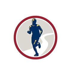 Marathon Runner Running Circle Retro vector image