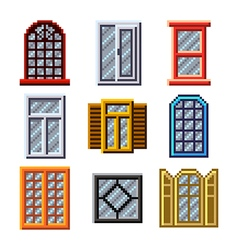 Pixel windows for games icons set vector image vector image