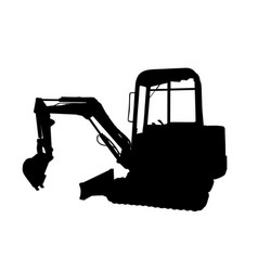 silhouette of the excavator vector image
