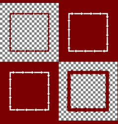 arrow on a square shape bordo and white vector image
