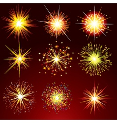 brightly fireworks isolated design elemen vector image vector image